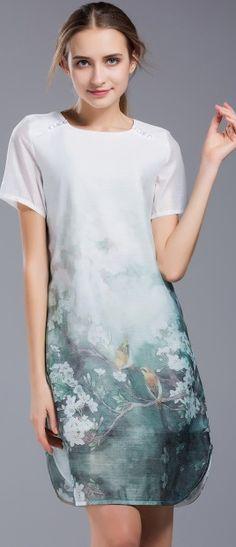 Elegant Multicolor Linen Print  Sheath Midi Dress