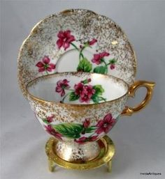 Vintage Gold Encrusted China Footed Tea Cup & Saucer Set Duo with Floral Motif