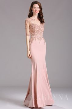 Carlyna Blush Illusion Beaded Applique Formal Dress with Sweetheart Prom Dresses Long With Sleeves, Girls Formal Dresses, Lace Evening Dresses, Simple Dresses, Elegant Dresses, Evening Gowns, Beautiful Dresses, Dress Brokat, Kebaya Dress