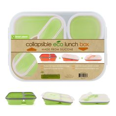 Smart Planet EC-34 Large 3-Compartment Eco Silicone Collapsible Lunch Box, Green. $10 @ Marshalls