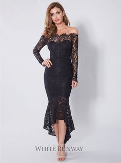 Marchesa Dress. A stunning midi length dress by Elle Zeitoune. A lace off-shoulder style featuring long sleeves and frill hemline.