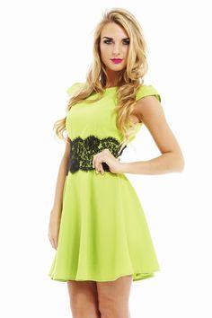 GREEN LACE WAIST DRESS