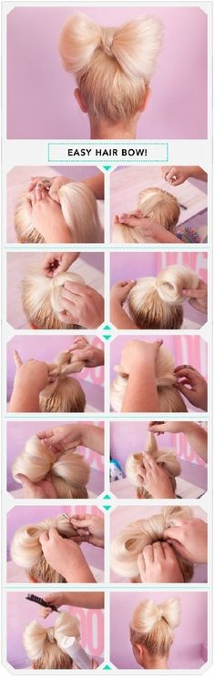 Five interesting DIY hair bow tutorials. Find out how to make bow out of your hair. Make bow in your hair as hair bow bun, or together with brad,fishtail. Everyday Hairstyles, Pretty Hairstyles, Easy Hairstyles, Girl Hairstyles, Wedding Hairstyles, Hairstyle Ideas, Teenage Hairstyles, Romantic Hairstyles, Easy Hair Bows