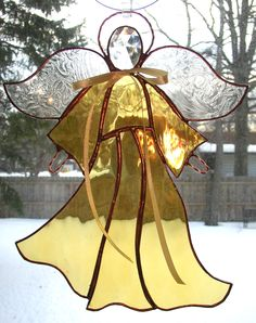 Stained Glass Angels | pattern of fracture glass may vary from photo