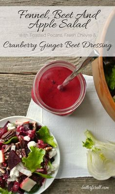A go-to fall and winter salad with bright flavors of Cranberry, Ginger, Beet and Fennel. Click to visit the ButterForAll blog and get the recipe.