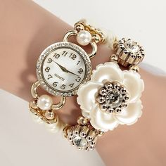 High Quality Lady Luxury White Flower Bracelet Watches Women Pearl Quartz Crystal Wristwatches Relogio Montre Femme Clock