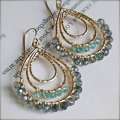 earrings..wire wrapped beads
