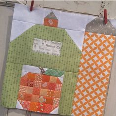 "Check out @hollyhillquiltshoppe latest super cute block from the ""Farm Girl Vintage"" book...Patchwork Pumpkin inside Silo Barn...both blocks in my book Farm Girl Vintage:) ❤️ #beeinmybonnet #farmgirlvintage #silobarnblock #patchworkpumpkinblock"