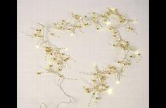Deko und Accessoires für Weihnachten: Lichterkette LED Batteriebetrieben GOLD-PERLE PVC made by EllasDekokrempel - Edelrost-deko-Artikel via DaWanda.com