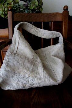 Hand stitched natural Linen sashiko bag by Ichigoichiestore