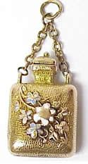 Mini 14K Gold, Enamel, Diamond Perfume Bottle