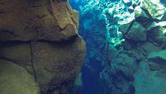 Snorkelling between tectonic plates, Silfra.  #silfra #iceland #snorkelling