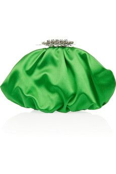 YSL green satin clutch