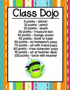 Wondering what to do with your class dojo points? Use this chart to motivate and reward your students!