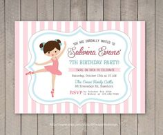 Ballerina Birthday Invitation / Ballerina invitation by DreamyDuck Ballerina Birthday Parties, Ballerina Party, 7th Birthday, Birthday Cards, Birthday Ideas, Diy Birthday Invitations, Tutu Party, Diy Christmas Gifts, Party Printables