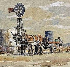Filling up with water, donkeys, wind pump, Karoo Windmill Art, Farm Windmill, Old Windmills, Farm Paintings, African Art Paintings, Abstract Landscape, Landscape Paintings, Poppy Flower Painting, Stella Art