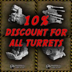 Time for a little shopping - 10% discount for many turrets in our webstore, from both Mankind and Orcs factions.  http://puppetswar.com/