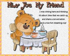 Cute card for a friend you need to catch up with. Free online Time That We Catch Up ecards on Friendship Friends Day, Cards For Friends, Cute Friendship Quotes, Miss You Cards, Best Pal, Cute Panda, Feeling Special, Name Cards, Card Sizes