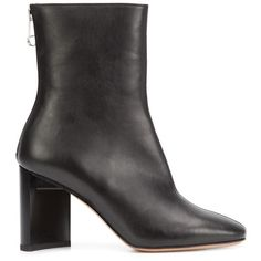 Maison Margiela - block heel ankle boots - women - Leather - 41 (1 260 AUD) ❤ liked on Polyvore featuring shoes, boots, ankle booties, black, short leather boots, black bootie, black bootie boots, black leather booties and short boots