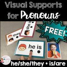 FREEBIE: Pronoun Visual Supports - he/she/they + is/are for Speech Therapy Preschool Speech Therapy, Speech Therapy Games, Speech Language Pathology, Speech And Language, Play Therapy, Teaching Pronouns, Pronoun Activities, Speech Therapy Activities, Preschool Language Activities