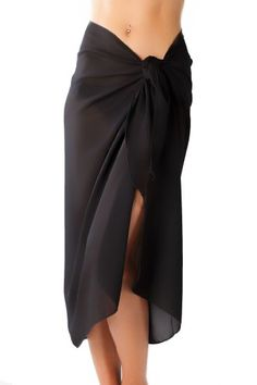 Sassy Sarongs Long Black Swimsuit Sarong Cover Up with Built in Ties One Size ♥