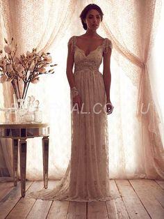 Beformal.com.au SUPPLIES Latest Floor-Length V-Neck Sheath/Column Natural Wedding Dress Designer Wedding Dresses
