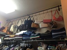 Add a curtain rod with hooks for hanging purses up in the closet.