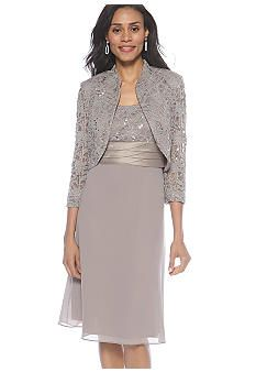 Something like this but not this color.  RM Richards Lace Bolero Jacket Dress