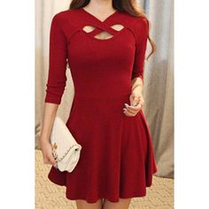 $11.74 Simple V-Neck 3/4 Sleeve Solid Color Hollow Out Criss-Cross Women's Dress