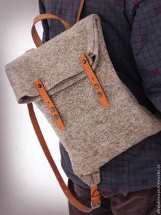 """Рюкзачок """"Симпатяга"""" - серый,однотонный,рюкзак,рюкзак ручной работы,рюкзак для девочки"""