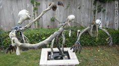 DIY Whirling spirits. Using a wiper motor, bike wheel, and pulley