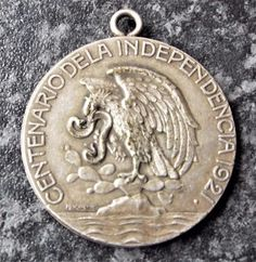 Antique Mexican Centenary of Independence 1921 Silver Medal - Angel Sweet Memories, Mexican, Clip Art, Angel, Antiques, Silver, Antiquities, Money, Angels