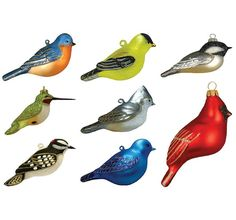 Blown Glass Bird Ornament Collection Set of 8