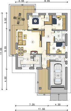 Projekt domu AT Winona CE - DOM - gotowy koszt budowy Bungalow House Design, Modern House Design, Cottage House Plans, Cottage Homes, Building Design, Building A House, 2 Bedroom House, Garage House, Modern House Plans