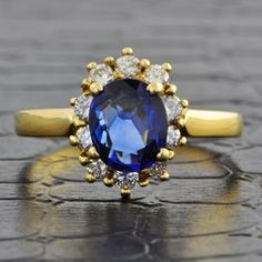 Oval Cut Sapphire and Diamond Ring  at Perry's