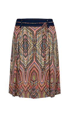 MOSAIC $175 214555 Stretch jersey dotted geometric print tie-belted full skirt with denim yoke.