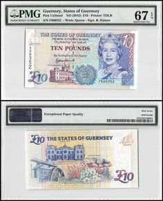 Paper Money: Guernsey 10 Pounds, Nd 2015, P-New, Unc, Queen Elizabeth Ii (Qeii), Pmg 67 Epq BUY IT NOW ONLY: $59.99