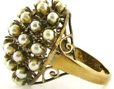 Jewelry & Watches Motivated Vintage Round Cultured Pearl Cluster Ring 14k Yellow Gold 6-6.25mm Bark Finish