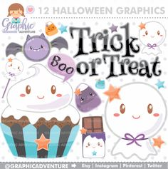 75%OFF - Halloween Clipart, Halloween Graphics, Ghost Clipart, COMMERCIAL USE, Kawaii Clipart, Halloween Party, Planner Accessories, Boo