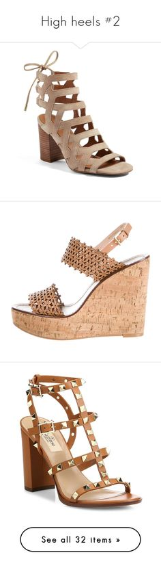 """""""High heels #2"""" by katie080602 ❤ liked on Polyvore featuring shoes, sandals, summer beige, summer shoes, caged block heel sandals, beige block heel sandals, franco sarto shoes, block heel sandals, brown and leather wedge sandals"""