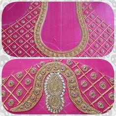 Add in m Saree Blouse Neck Designs, Bridal Blouse Designs, Blouse Patterns, Mirror Work Blouse, Hand Work Blouse, Aari Embroidery, Hand Embroidery Designs, Hand Work Design, Maggam Work Designs