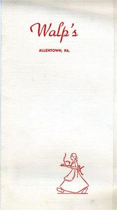 Walp S Restaurant Menu From 1958 Allentown Pa Allentown Bethlehem Pa Shirt Quilt