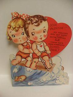 Vintage 1930s Valentines Day Card Surfer Surfing Die Cut Mechanical | eBay