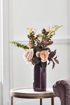 Artificial Roses In Ceramic Vase Artificial Flower Arrangements Artificial Flowers Plants Artificial Flowers
