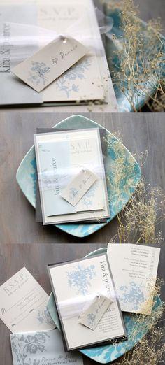 Elegant Blue - Modern, Classic & Elegant Wedding Invitations, Baby Blue, Rose, Ivory, Tulle.