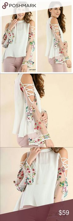 Floral Embroidery Angel Sleeve Top NWT Gorgeous!😍 Beautiful embroidery on  sheer angel sleeve. 224f3ee0a