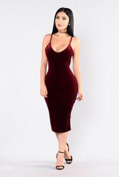 - Available in Burgundy - Velvet Dress - Spaghetti Straps - Midi Length - Made in USA - 90% Polyester 10% Spandex