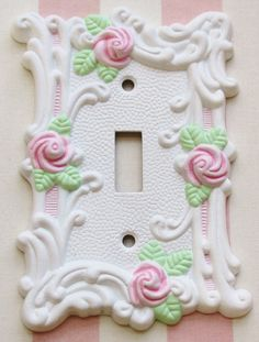 Shabby Cottage White with Pink Roses. Light Switch Plate Cover