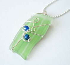 wire wrapped recycled glass pendant. Wire Wrapped Recycled Glass Pendant By Mlwdesigns On Etsy, $20.00 N