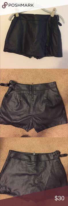 Black leather skort Sam Edelman black leather skort with side buckle detail. NEW with tags Sam Edelman Shorts Skorts